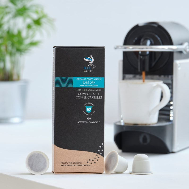 Blue Goose Compostable Biodegradable Coffee Capsules Single Origin Organic Swiss Water Decaf pods Honduran