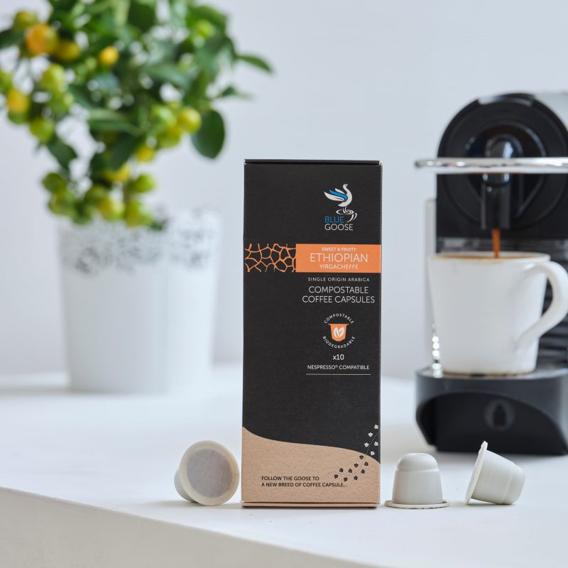 Blue Goose Compostable Biodegradable Coffee Capsules pods Single Origin Ethiopian Yirgacheffe eco coffee pods Compostable Coffee capsules Compostable Coffee Pods
