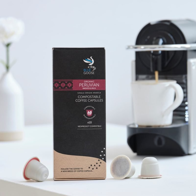 Blue Goose Compostable Biodegradable Coffee Capsules pods Single Origin Organic Peruvian eco coffee pods Compostable Coffee capsules Compostable Coffee Pods