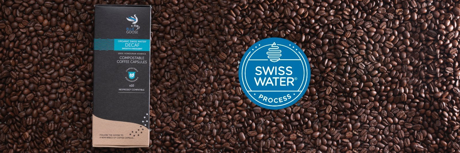 What does Swiss Water Decaf mean - Blue Goose Swiss Water Compostable Biodegradable Coffee Capsules pods Nespresso (r) compatible