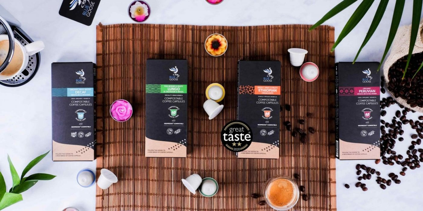 Blue Goose Best Buy Compostable Coffee Capsules pods 2 star two star Great Taste Awards 2020 Single Origin Ethiopian Yirgacheffe eco coffee pods Compostable biodegradable Coffee capsules