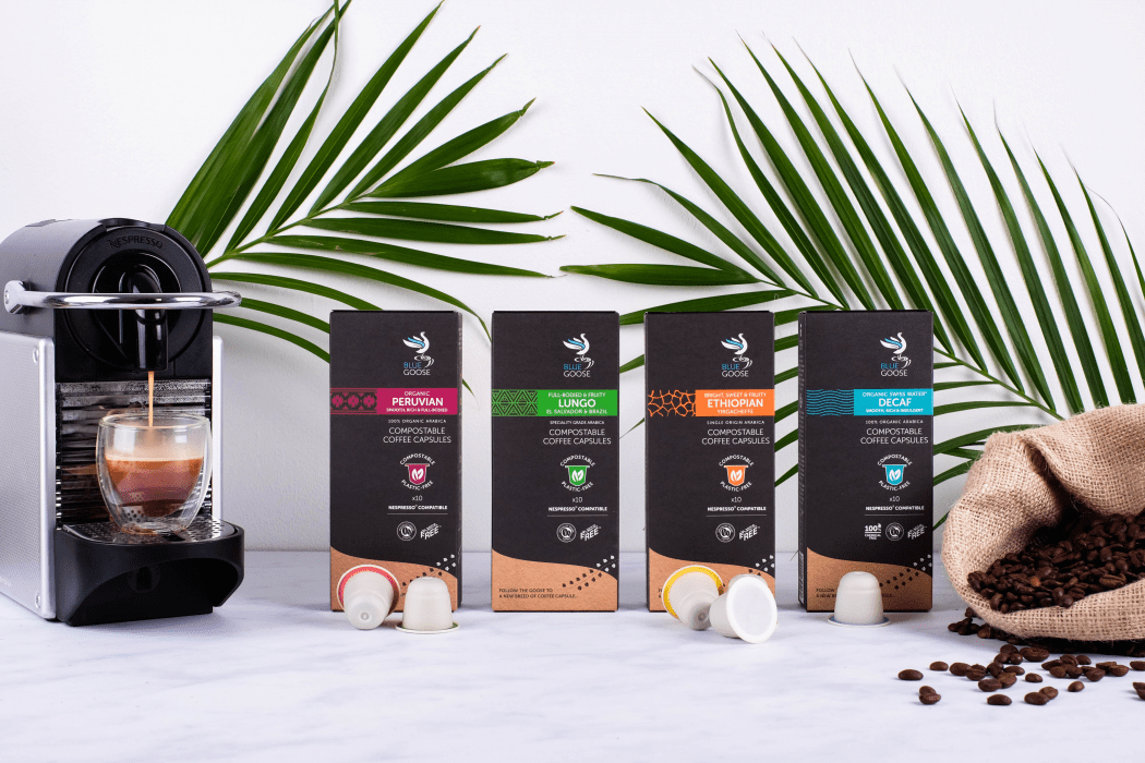 Blue Goose offer Organic Coffee in eco compostable coffee pods including their Organi Perucian and Organic Swiss Water Decaf coffee capsules