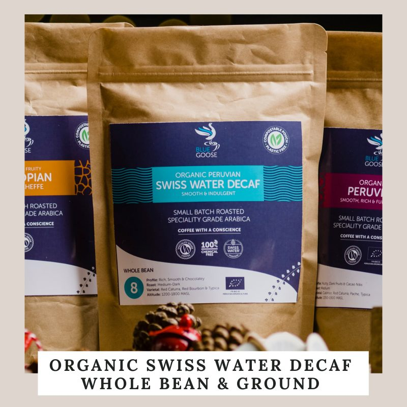 Organic Swiss Water Decaf Whole Bean & Ground Coffee