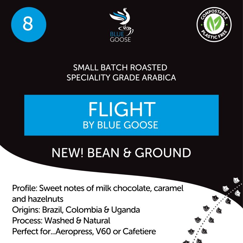 Blue Goose Whole Bean & Ground coffees in compostable pouches