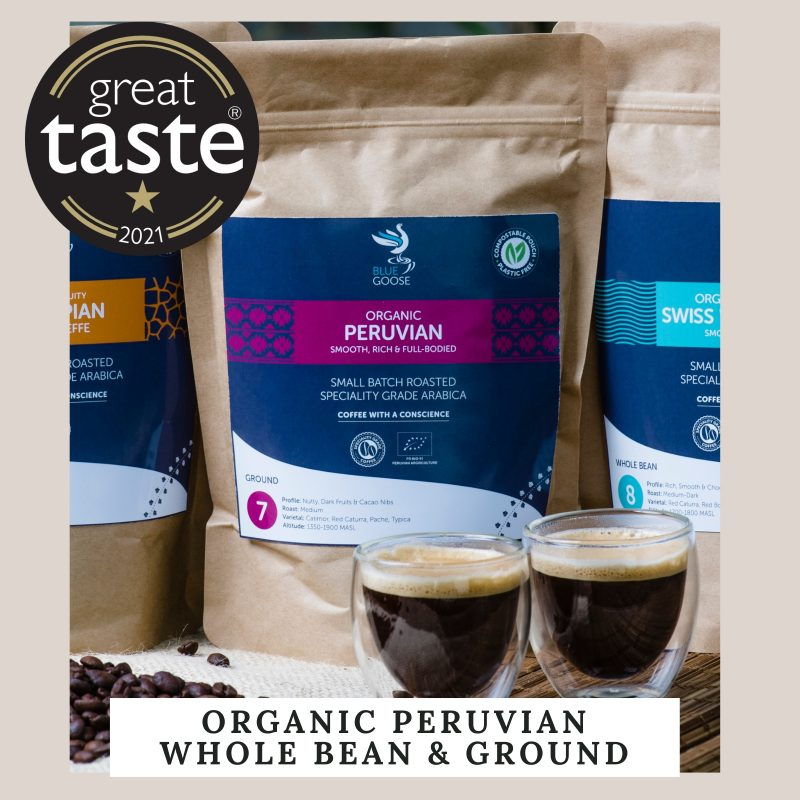 Organic Peru Whole Bean Ground Coffee Compostable Pouches coffee Great Taste 2021 bags
